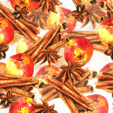 Seamless background with cinnamon and apples Stock Photos