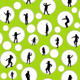 Seamless background with circles and children silhouettes Stock Photography