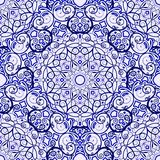 Seamless background of circular patterns. Blue ornament in ethnic style. Vector illustration royalty free illustration