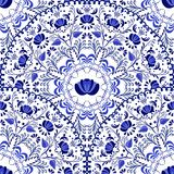 Seamless background of circular patterns. Blue ornament Russian national style Gzhel. Royalty Free Stock Images