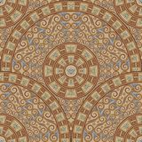 Seamless background of circular patterns. Dark brown ornament in the Greek style. Royalty Free Stock Image