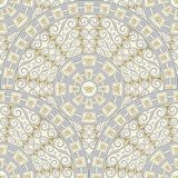 Seamless background of circular patterns. Light gray ornament in the Greek style. Royalty Free Stock Image