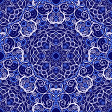 Seamless background of circular patterns. Navy blue ornament in ethnic style. Stock Photo
