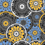 Seamless background with circular symmetrical mandalas. Texture to print on fabric, Wallpaper, clothes stock illustration