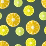 Seamless background with citrus fruits in flat design Stock Image