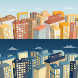 Seamless background with city landscape. Day and night panoramic view. Stock Images
