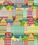 Seamless background with city landscape. Simple multicolor seamless background with panoramic town in european style stock illustration