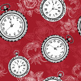 Seamless background with clocks and roses Stock Images