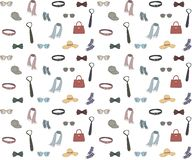 Seamless background with clothing accessories in cartoon style. stock illustration