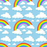 Seamless background with clouds and rainbows Royalty Free Stock Photos