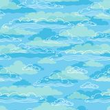 Seamless background with clouds - vector Stock Image