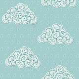 Seamless background with clouds. Vector. Illustration. Waves theme. Blue and white design template. Rain drops and clouds. Autumn theme for design Royalty Free Stock Photos