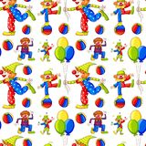 Seamless background with clowns and balloons. Illustration Stock Photography
