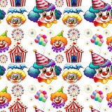 Seamless background  with clowns and circus Royalty Free Stock Image