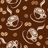 Vector seamless background with coffee beans and c Stock Photos