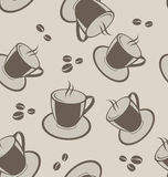 Seamless background with coffee cups and beans Royalty Free Stock Photography