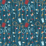 Seamless background with coffee cups and lettering. Stock Photos