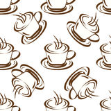 Seamless background with coffee cups Royalty Free Stock Photos