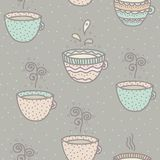 Seamless background with coffee and tea cups. Seamless pattern with cartoon cups tea and coffee Stock Image