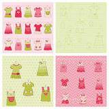 Seamless background Collection - Baby Girl Dress. Wonderful Seamless background Collection - Baby Girl Dress in  for design Stock Photo
