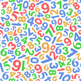 Seamless Background with Color Numbers on White Stock Image