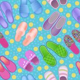 Seamless background color with slippers cozy and soft Stock Photo