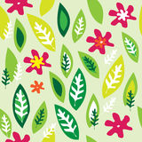 Seamless background with colored flowers. Seamless light green background with colored flowers and leaves Royalty Free Stock Photo