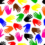 Seamless background. colored hands Royalty Free Stock Images