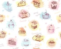 Seamless background with colored sketches of cupcakes, berry pie and cake Royalty Free Stock Photos
