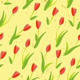 Seamless background with colored tulips. Stock Photo