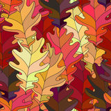 Seamless background with colorful autumn leaves. Repeating texture with floral motif. Vector illustration. Stock Photo