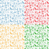 Seamless background with colorful Christmas sketches Stock Images