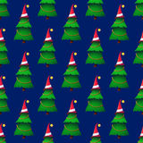 Seamless background with colorful Christmas trees. Stock Photo