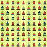 Seamless background of colorful Christmas trees Stock Photo