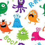 Seamless background with colorful cute monsters Stock Photography