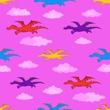 Seamless background, colorful dragons flies Royalty Free Stock Photos