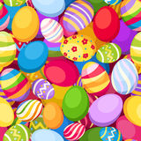 Seamless background with colorful Easter eggs. Vec Stock Photo