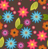 Seamless background with colorful flowers. In flat design Royalty Free Stock Image