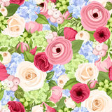 Seamless background with colorful flowers. Vector illustration. Stock Photo