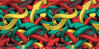 Seamless background with colorful graffiti arrows of art. Seamless colorful background of Graffiti on dark background vector illustration