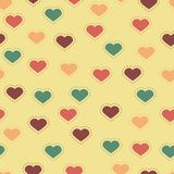 Seamless background with colorful hearts and stitches Royalty Free Stock Image