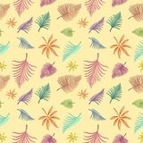Seamless background with colorful leaves. Illustration Royalty Free Stock Photo