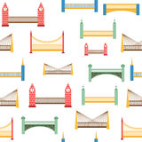 Seamless background with colorful modern bridges Royalty Free Stock Image