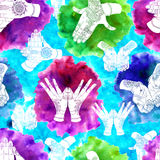 Seamless background with colorful mudras Stock Image