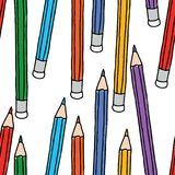 Seamless background of colorful pencils Royalty Free Stock Images