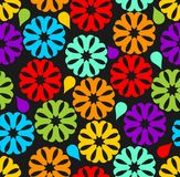 Seamless background with colorful rainbow flowers Stock Images