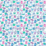 Seamless  background with colorful shopping icons. Stock Photography