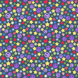Seamless background of colorful stars pieces, pacifist, hearts. Seamless background of colorful stars pieces, pacifist, hearts on dark Royalty Free Stock Photography