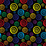 Seamless background with colorful swirls on black background. Stock Photos