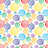 Seamless background with colorful swirls on white background. Royalty Free Stock Photos